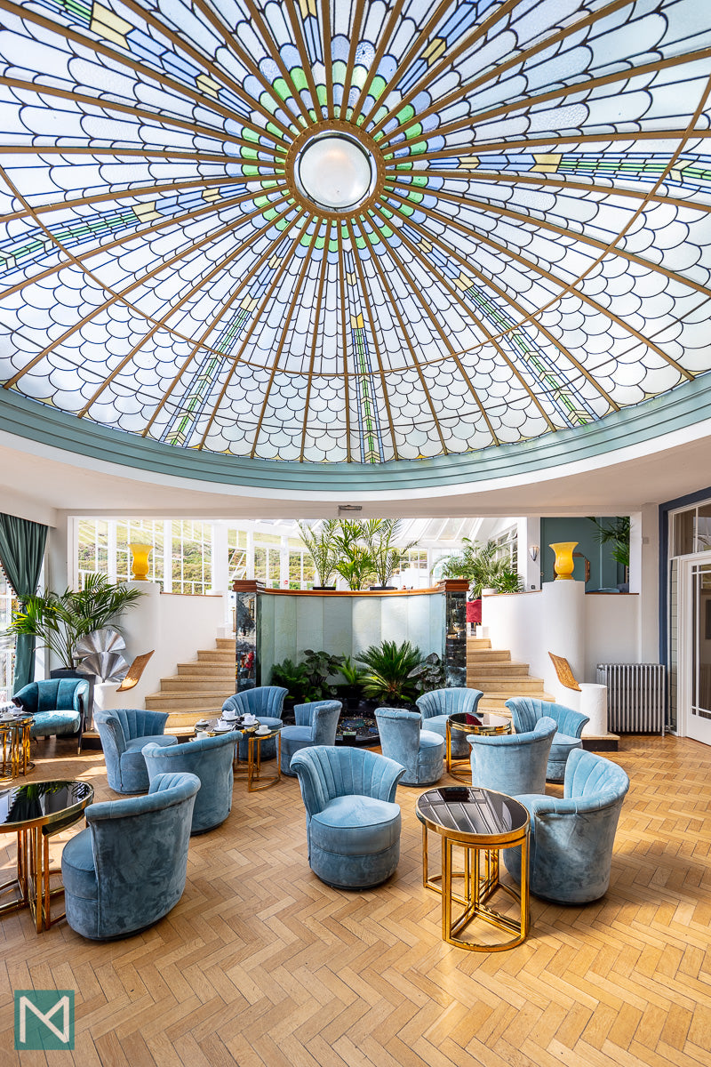 The stunning glass ceiling in the conservatory of the Burgh Island Hotel