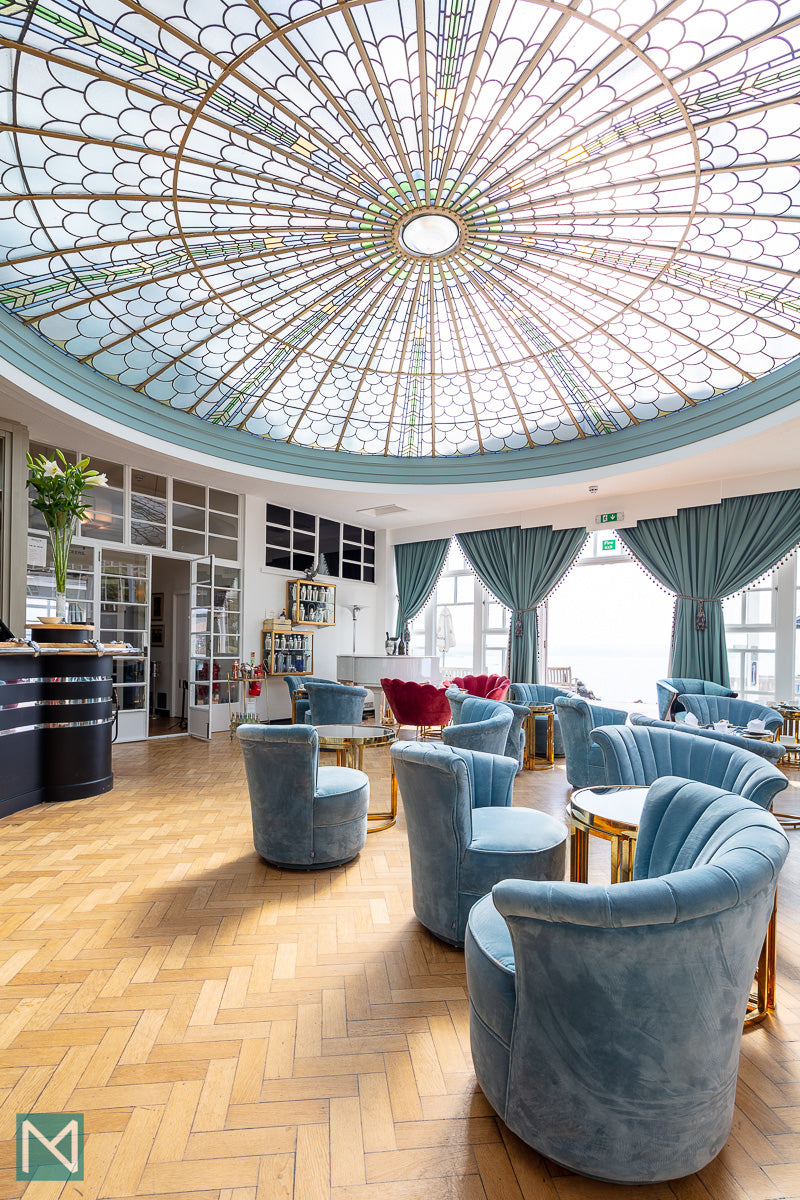 Looking toward the bar in the convervatory at Burgh Island Hotel