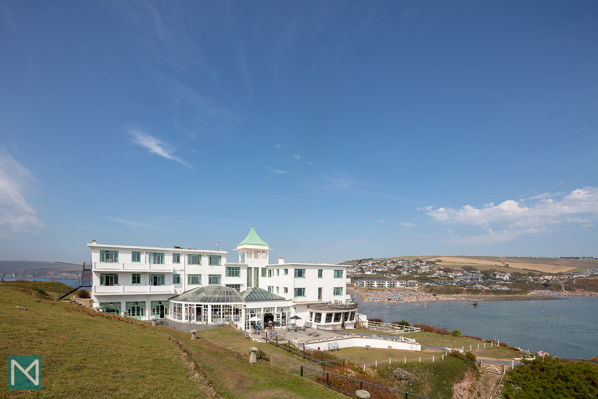 The rear of the hotel with Bigbury beach in the background