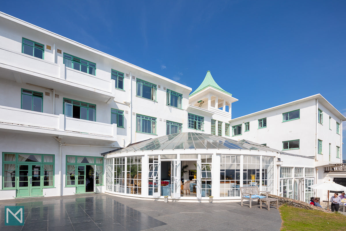 The exteriror of the Burgh Island Hotel