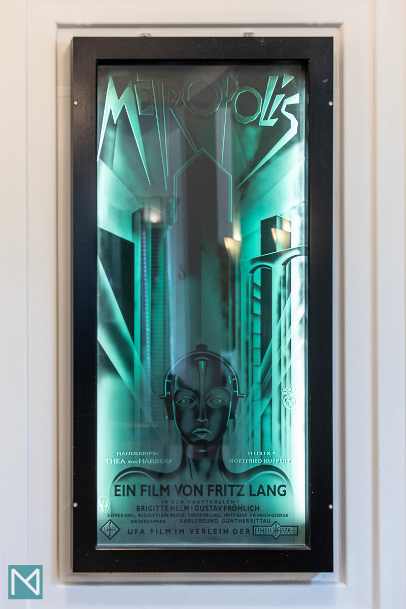 Poster for the classic film Metropolis in the lobby of the Burgh Island Hotel