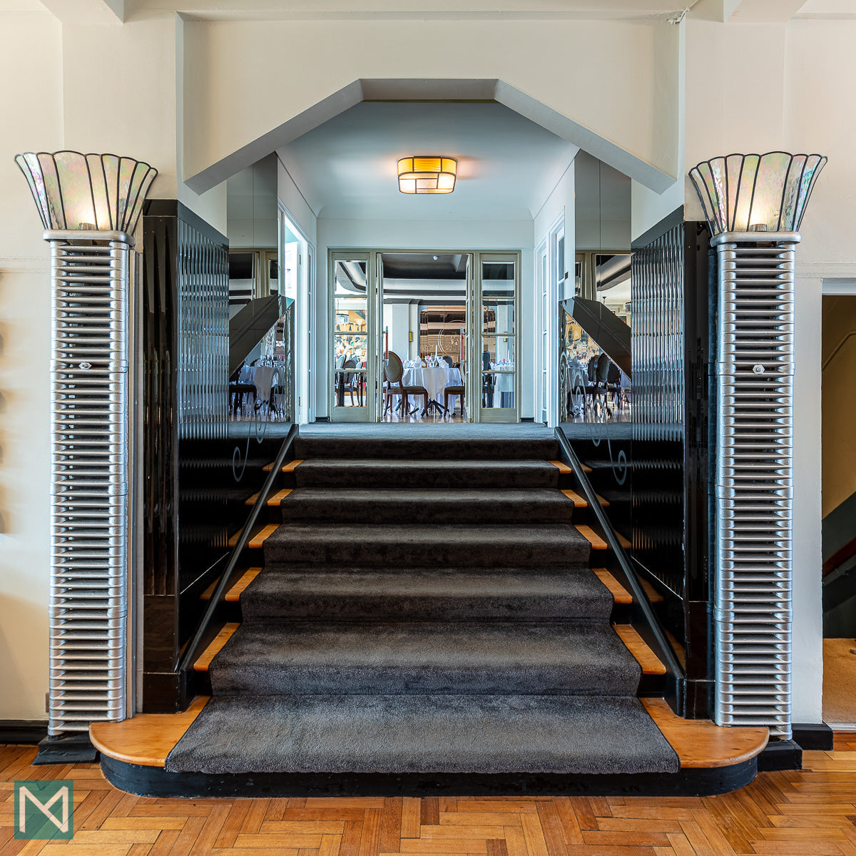 Looking from the lobby towards the ballroom of the Burgh Island Hotel