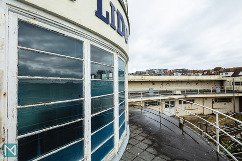 Detail of the exterior of Saltdean Lido's rotunda