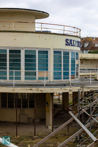 Exterior view of the rotunda at Saltdean Lido showing the construction work on the ground floor