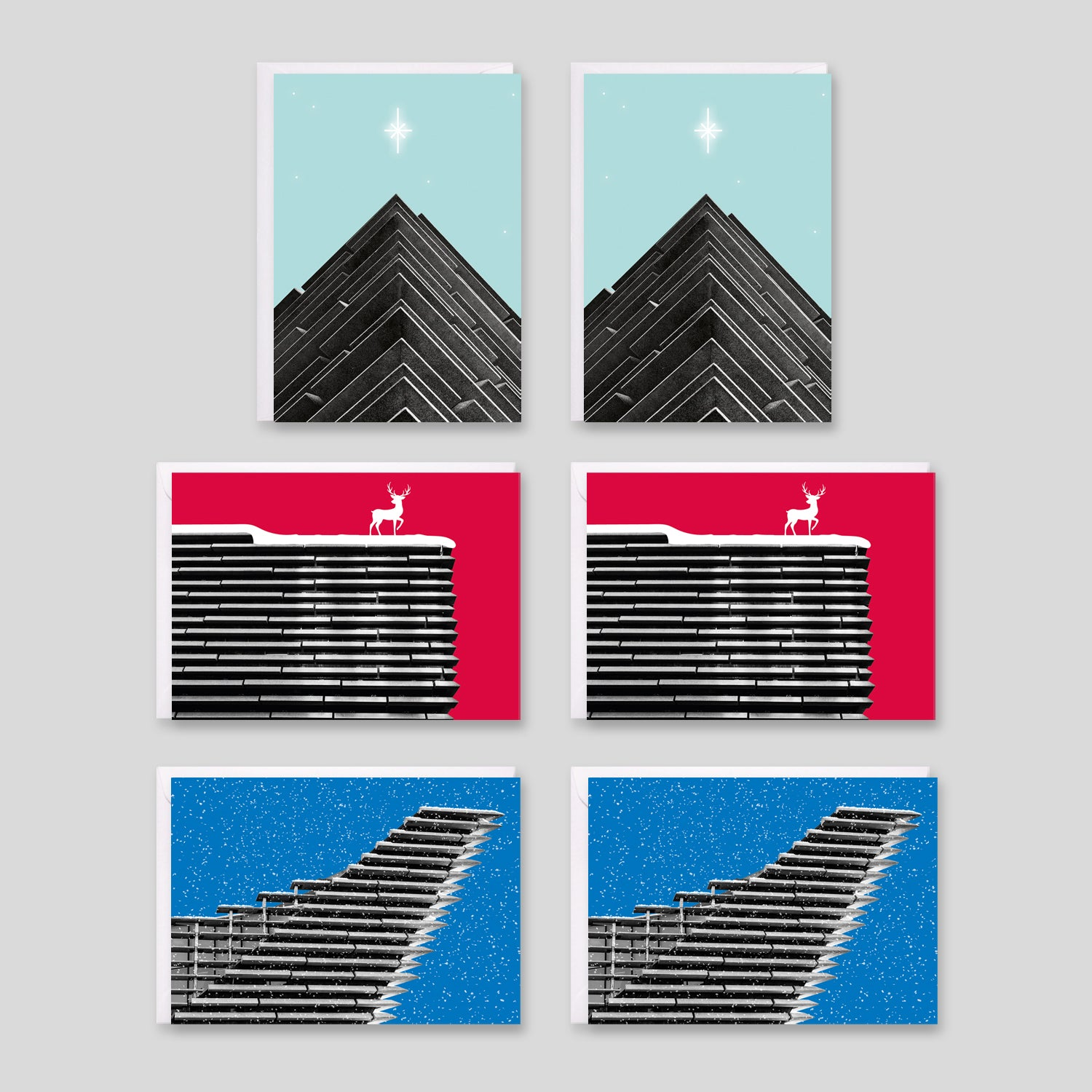 The finished V&A Dundee Christmas card designs