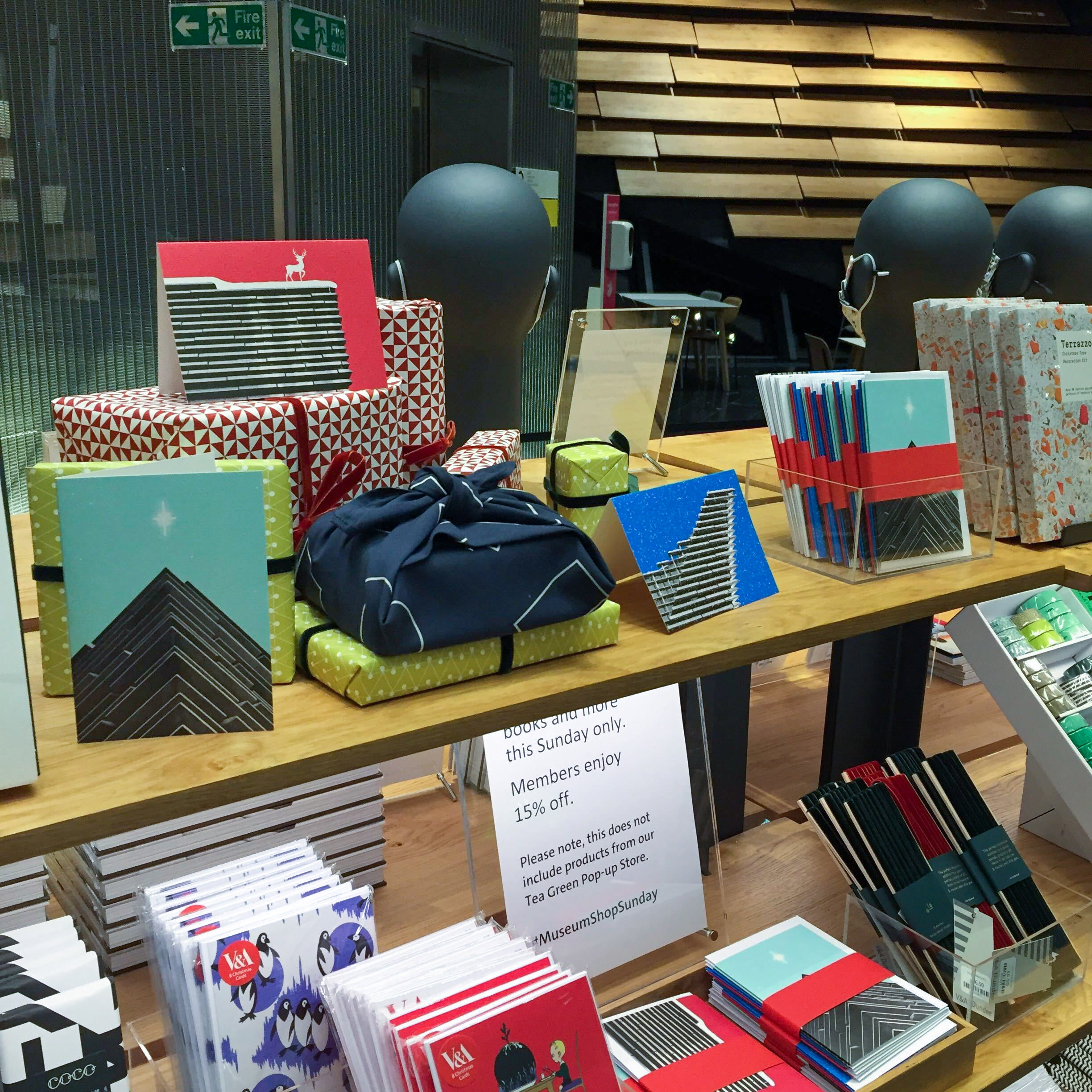 The V&A Dundee shop featuring Infromthestorm's bespoke greetings card designs