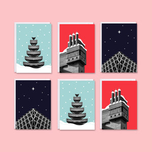 Brutalist Architecture Christmas Cards Pack of 6