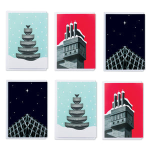 Brutalist Architecture Christmas Cards 6 Pack