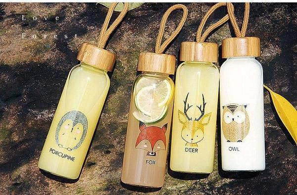 Animal Collection Bamboo Lid Glass Bottle 森林动物 竹盖高硼玻璃水杯 (Deer)