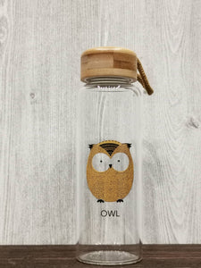 Animal Collection Bamboo Lid Glass Bottle 森林动物 竹盖高硼玻璃水杯 (Owl)