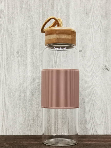 Heat Resistant Bamboo Lid Glass Bottle 简约耐热竹盖玻璃瓶 (Biege)