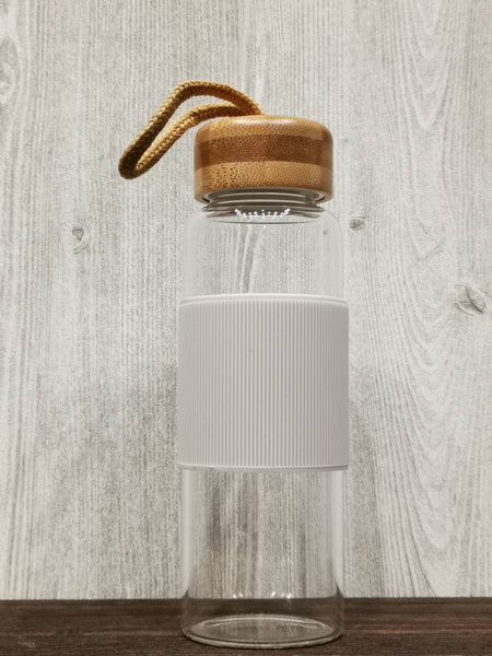 Heat Resistant Bamboo Lid Glass Bottle 简约耐热竹盖玻璃瓶 (White)