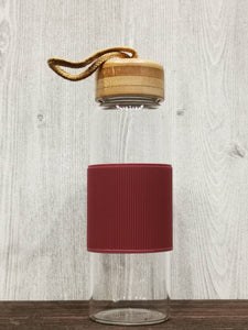 Heat Resistant Bamboo Lid Glass Bottle 简约耐热竹盖玻璃瓶 (Red)