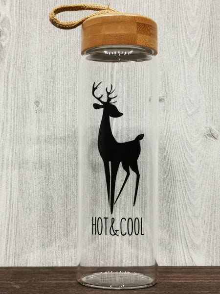 B&W Deer Collection Glass Bottle 黑白麋鹿玻璃瓶 (Black)