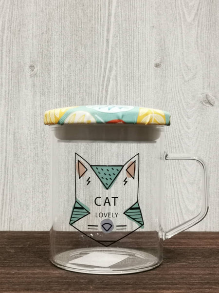Seal Lid Animal Collection Glass Mug 密封盖动物系列玻璃杯 (Cat)