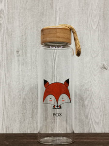 Animal Collection Bamboo Lid Glass Bottle 森林动物 竹盖高硼玻璃水杯 (Fox)