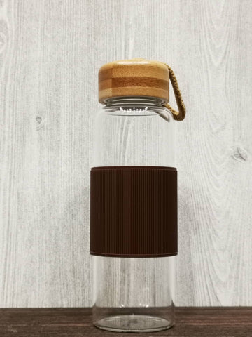 Heat Resistant Bamboo Lid Glass Bottle 简约耐热竹盖玻璃瓶 (Brown)