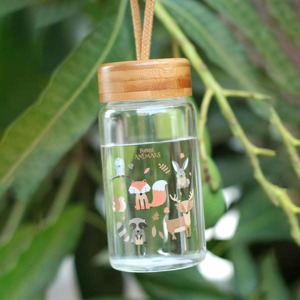 Cartoon Animal Collection Mini Bamboo Lid Glass Bottle 卡通系列迷你竹盖玻璃瓶(Forest Animals)