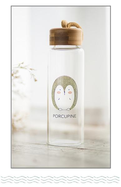 Animal Collection Bamboo Lid Glass Bottle 森林动物 竹盖高硼玻璃水杯 (Porcupine)