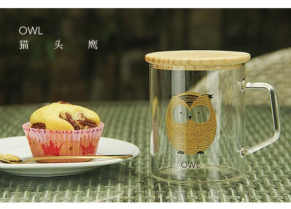 Animal Collection Glass Mug 动物系列玻璃杯 (Owl)