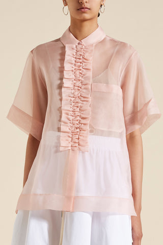 Callie Ruffle Front Short Sleeve Shirt