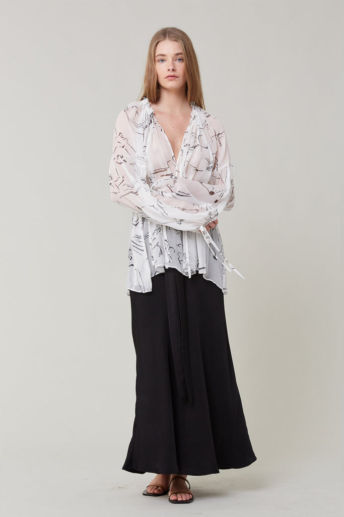 Lee Mathews | Gypsy Silk Blouse in Natural