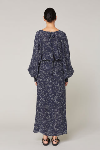 Pony Print Silk Long Sleeve Dress