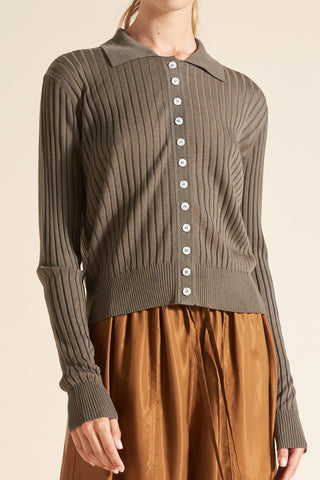 Tencel Rib Polo Cardigan