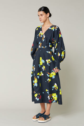 Lee Mathews | Dolores Floral Long-Sleeve Dress in Indigo