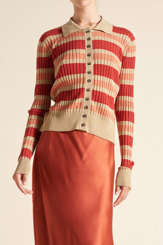 Tencel Stripe Polo Cardigan