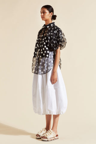 Cherry Spot Puff Sleeve Shirt