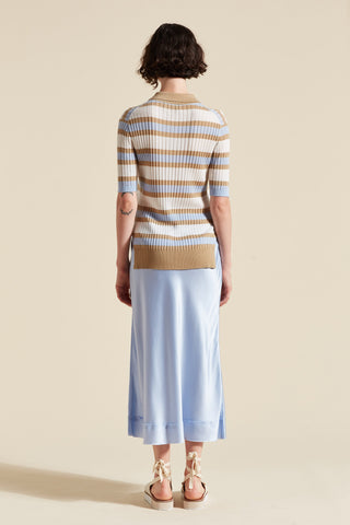 Tencel Stripe Polo Tee