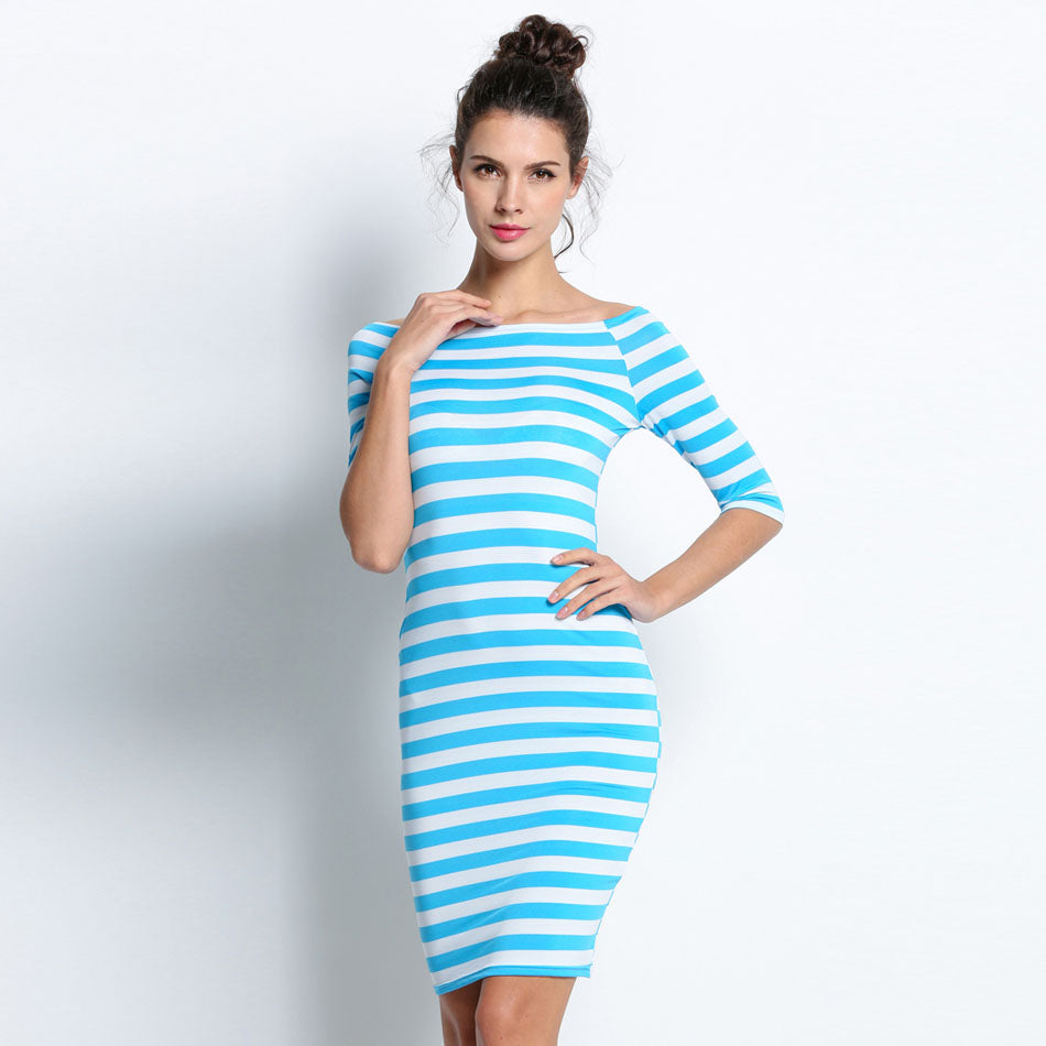 Autumn Stripes Midi Off Shoulder Pencil Bodycon Party Dresses (Plus ...