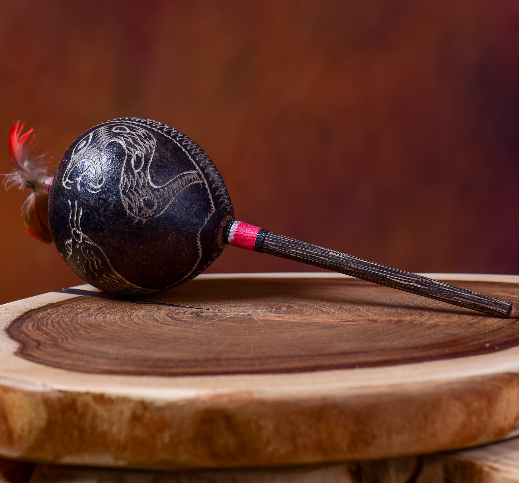 Large Shipibo Maracas Black Humming Bird and Condor