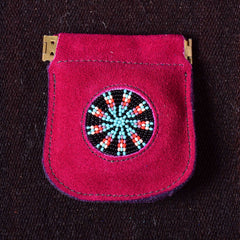 Andino Push - Otavalo Leather Beads Embroidery Purse Red