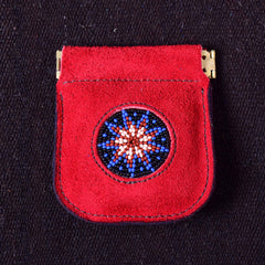 Andino Push - Otavalo Leather Beads Embroidery Purse Red Stars