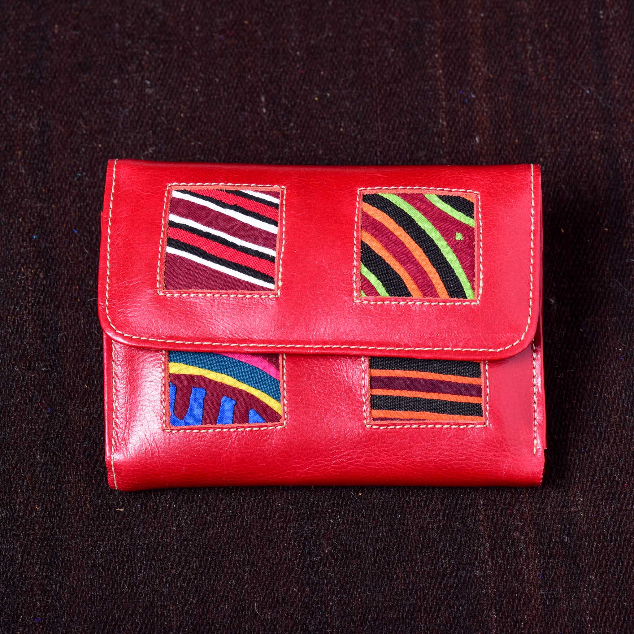 Billetera - Kuna Mola & Leather Purse