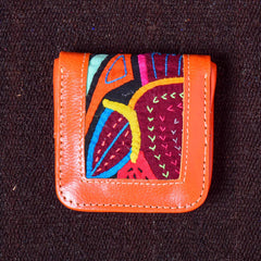 Cuadradito - Kuna Mola & Leather Purse orange