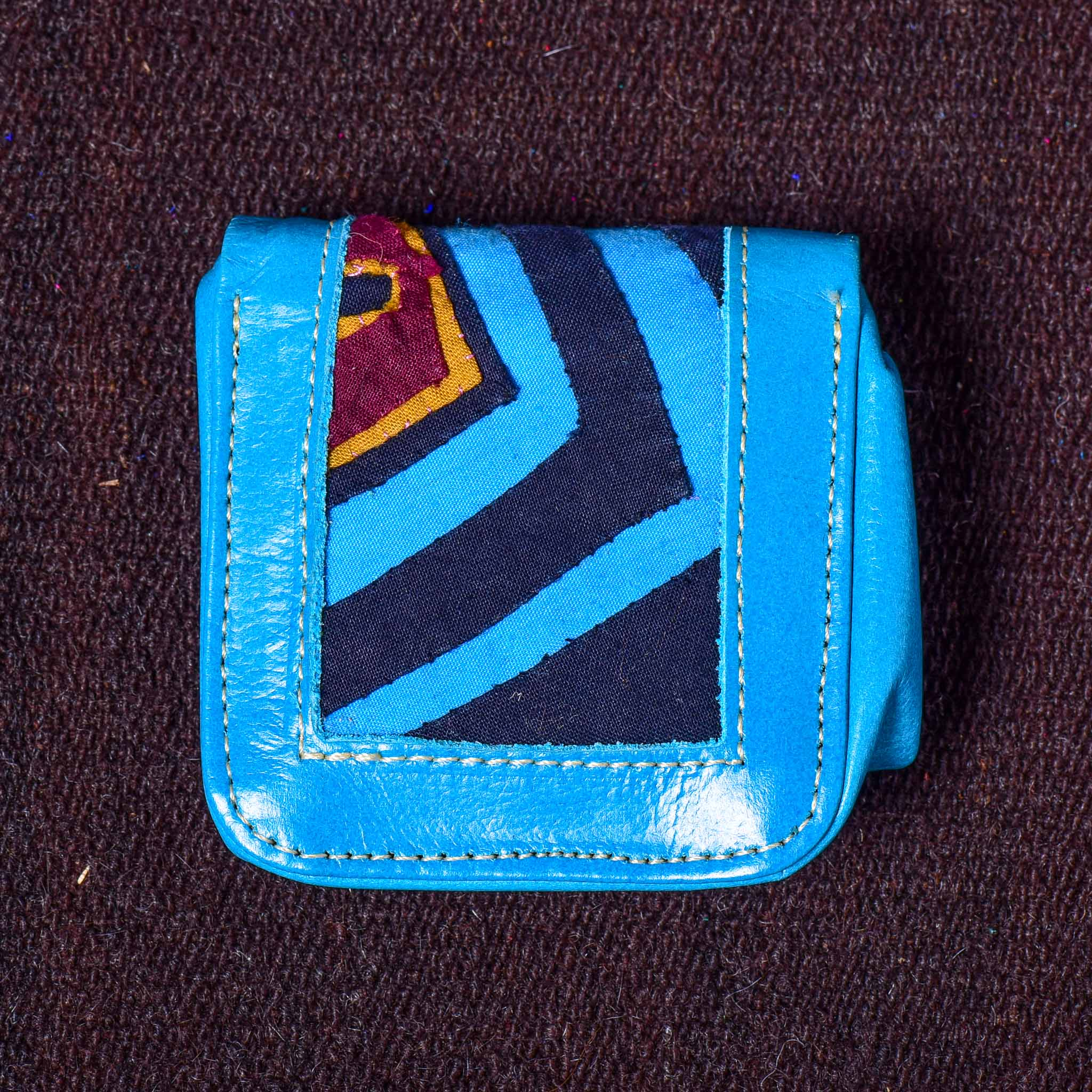 Cuadradito - Kuna Mola & Leather Purse blue