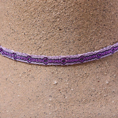 Mhuysca Macrame Thin Bracelet White Purple