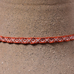Mhuysca Macrame Thin Bracelet Red Octagons