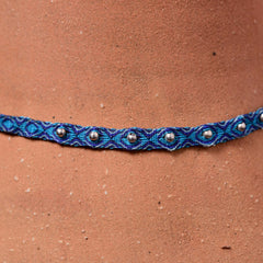 Mhuysca Makrame Thin Bracelate With Pins Dark Blue