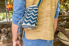 Wayuu Small Knitted Mochila Bag White & Blue