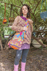 Wayuu Large Knitted Mochila Bag Orange Slick Pink