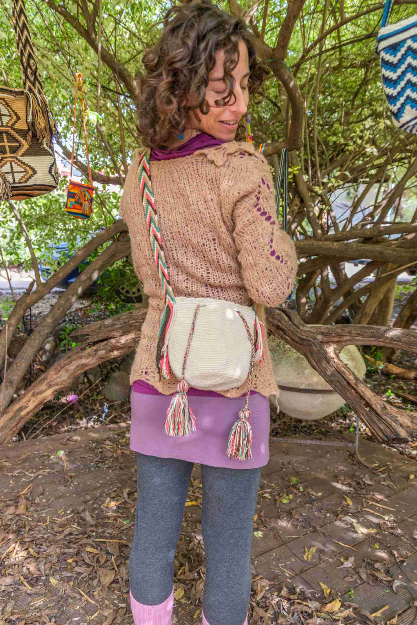Wayuu Small Knitted Mochila Bag White