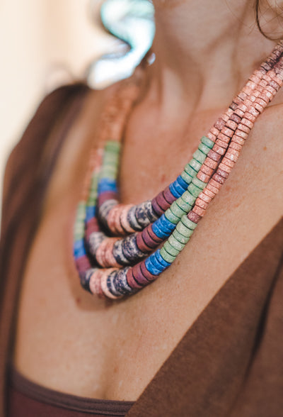 3 expanding strips - Clay Beads Necklace - Wild Matter Arts