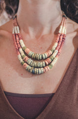 Green Pink Expanding Strips - Clay Beads Necklace - Wild Matter Arts