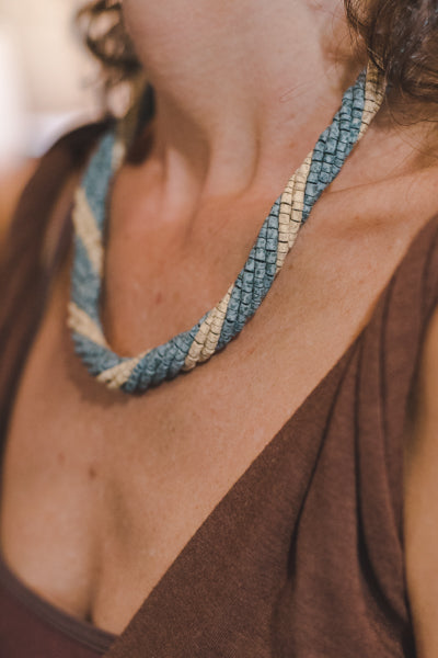 7 Braided Strips - Clay Beads Necklace - Wild Matter Arts