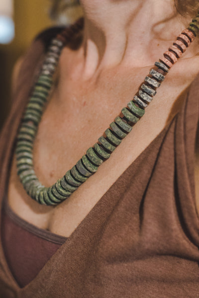 Green Clay Beads Necklace - Wild Matter Arts