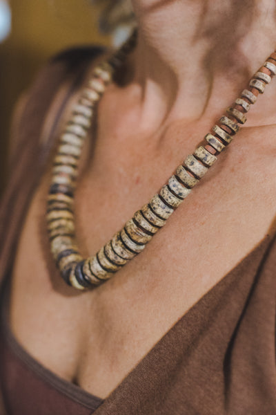 Brown Clay Beads Necklace - Wild Matter Arts